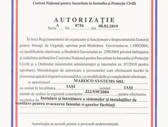 Maroco Systems SRL - AUTORIZAȚIE seria A, nr. 8756 din 08.02.2019