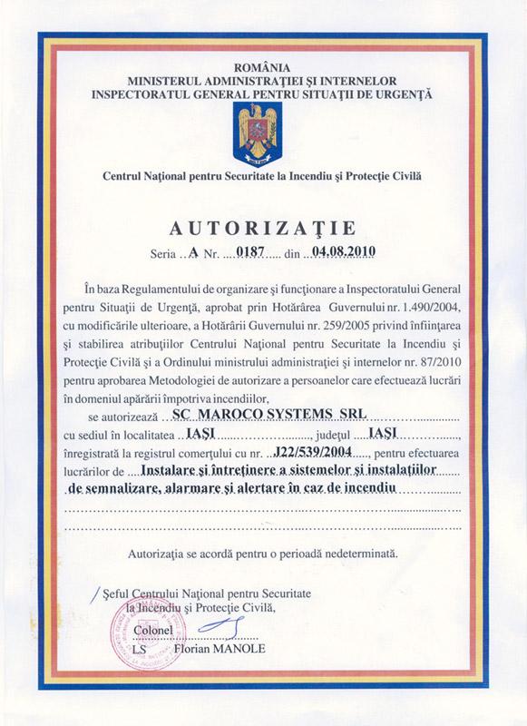 Maroco Systems SRL - AUTORIZAȚIE seria A, nr. 0187 din 04.08.2010