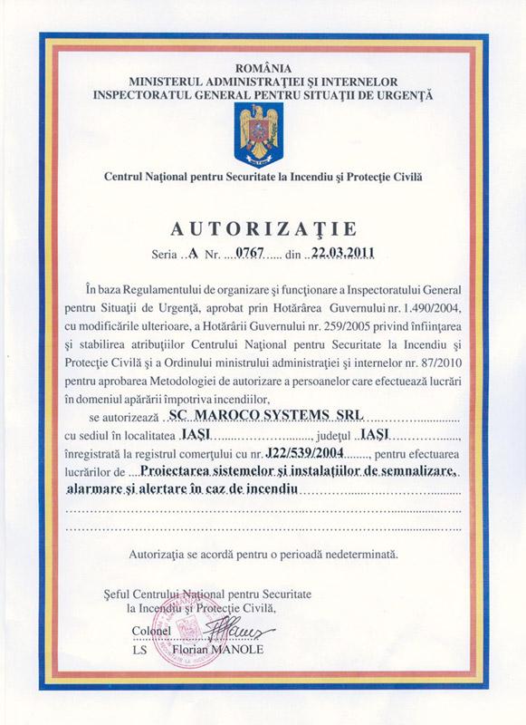 Maroco Systems SRL - AUTORIZAȚIE seria A, nr. 0767 din 22.03.2011