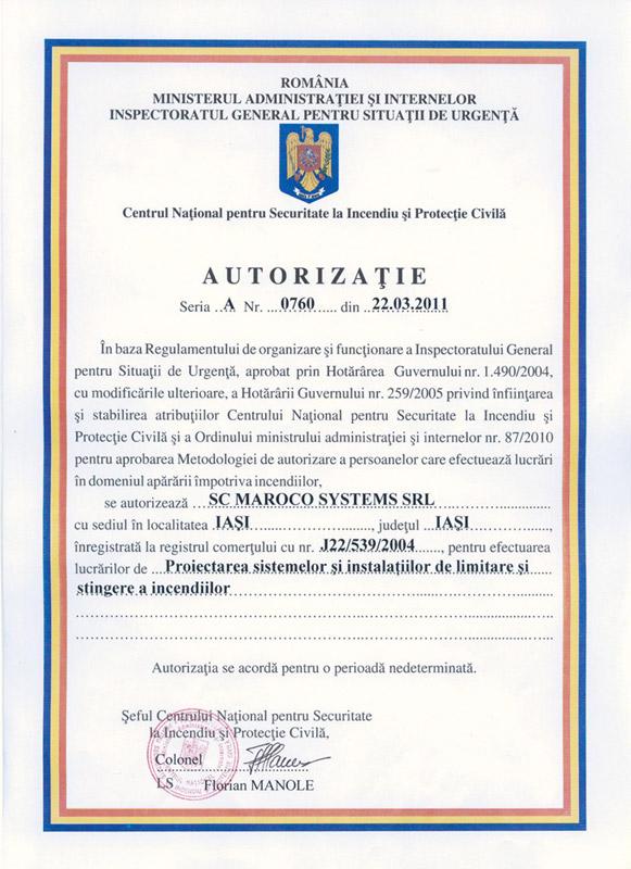 Maroco Systems SRL - AUTORIZAȚIE seria A, nr. 0760 din 22.03.2011