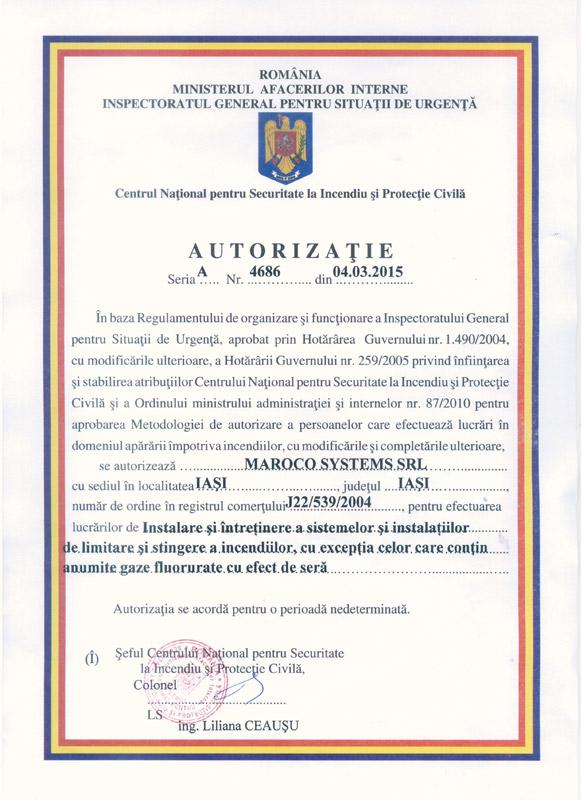 Maroco Systems SRL - AUTORIZAȚIE seria A, nr. 4686 din 04.03.2015
