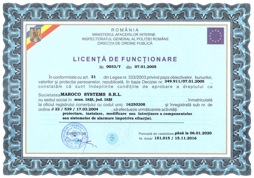 Maroco Systems SRL - LICENȚĂ DE FUNCȚIONARE nr. 0033/T din 07.01.2005