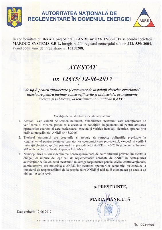 Maroco Systems SRL - ATESTAT ANRE nr. 12635 din 12.06.2017 de tip B
